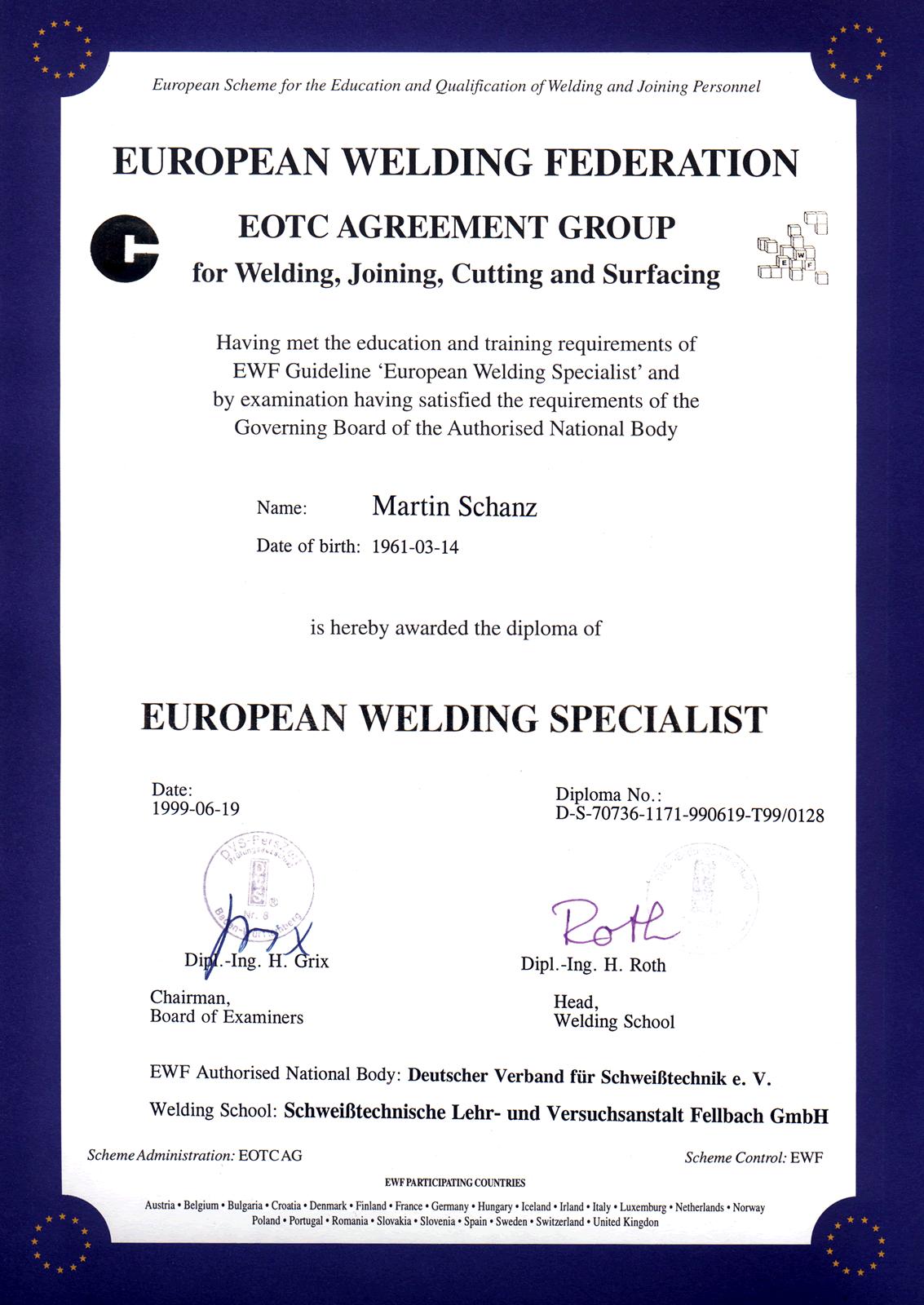 Zertifikat European Welding Specialist