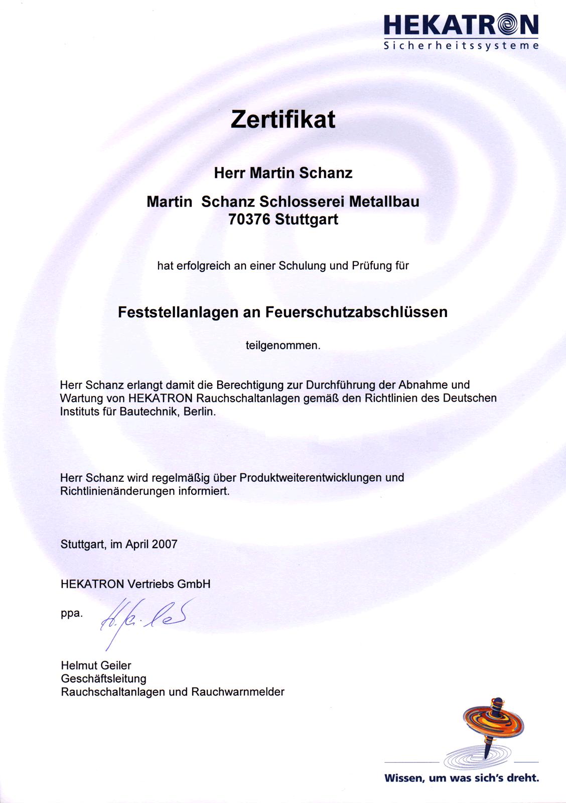 Zertifikat Feststellanlagen an Feuerschutzabschlüssen