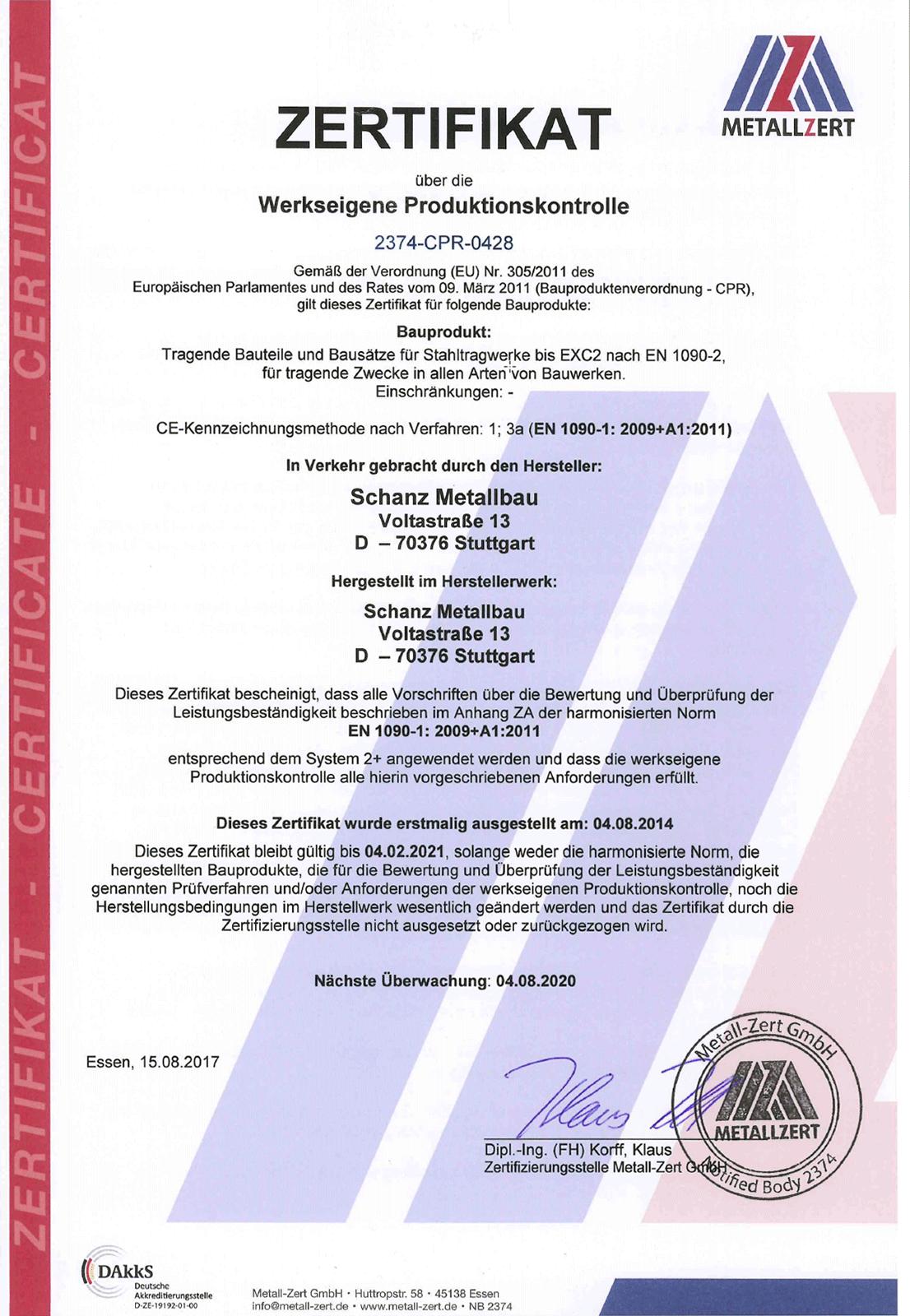 Schweisszertifikat Werkseigene Produktionskontrolle
